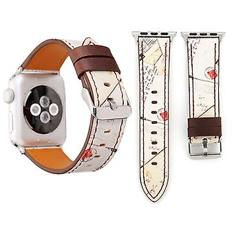 For Apple Watch Series 3 & 2 & 1 38mm Retro Flower Series Mail Pattern Wrist Watch Genuine Leather Band