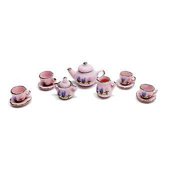 Dolls House Pink Hyacinth Porcelana angielski Tea Set Gold Edging Jadalnia Akcesoria