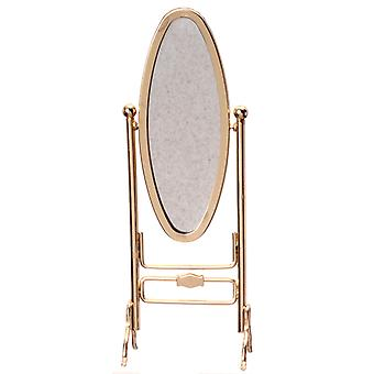 Poppen Huis Messing Gold Cheval Dressing Mirror Dressmaker Shop Slaapkamer meubilair
