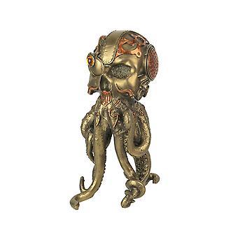 Brons / Koper afgewerkt Steampunk Menselijke Schedel / Octopus Fantasy Tafelblad Standbeeld