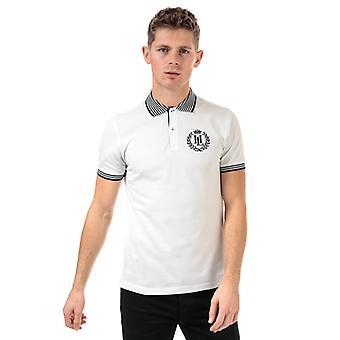 Men's Henri Lloyd Big Logo Striped Collar Piquet Polo Shirt in White