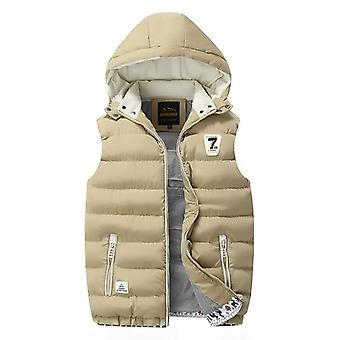 Winter Warm Down Casual Sleeveless Jacket Vest Overcoats Hat Detachable