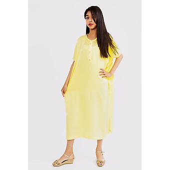 Gandoura keniz girl's short sleeve cropped velvet maxi kaftan dress in yellow