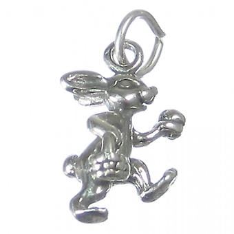 Easter Bunny Rabbit With Egg Sterling Silver Charm .925 X 1 Charms - 1282