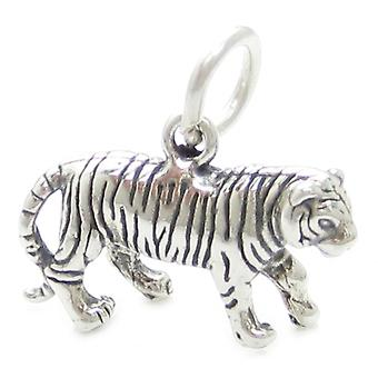 Tiger Sterling Silver Charm .925 X 1 Tigers Big Cat Game Cats Charms - 3580