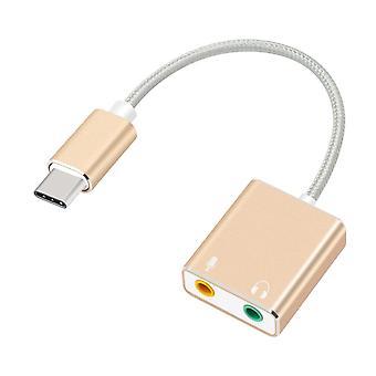 Εξωτερική κάρτα ήχου Usb τύπου C, υποδοχή ήχου αέρα, ακουστικά, μικρόφωνο, προσαρμογέας