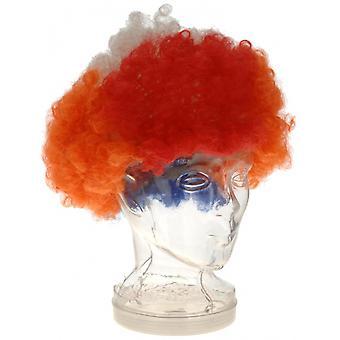 Pruik Afro Holland Unisex Rood / Wit / Blauw / Oranje One-Size