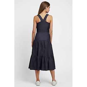 Louche mujeres Melanie Chambray Midi Vestido azul
