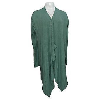 Zuda Women's Sweater Ecovero Open Front Cardigan W/ Ribs Green A382292