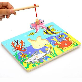 3d Wooden Magnetic Fishing Educational Learning Fish Board Game