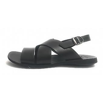 Men's Shoes Elite Sandal Bands Black Leather Bottom Tread Us17el23