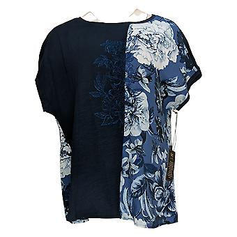 DG2 Por Diane Gilman Women's Top Mixed Media Bordado Tee Blue 655644