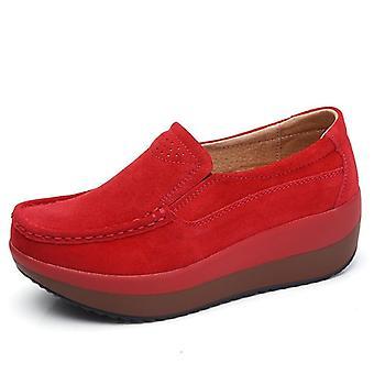 Red Flats Platform Loafers Genuine Leather Nursing Slip