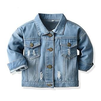Spring Autumn Kids Casual Jacket, Ripped Holes Jeans Coats