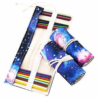 Canvas Roll Pencil Case, Starry Sky Pen Bag