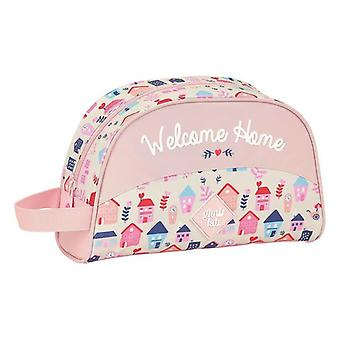 School Toilet Bag Glow Lab Welcome Home Pink