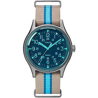 Timex MK1 Aluminum Gray & Blue Fabric Slip-Thru Mens Watch TW2T25300
