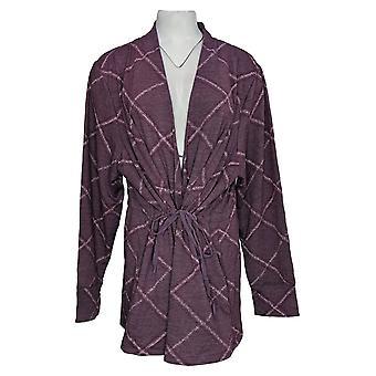 Cuddl Duds Women's Sweater Plus Comfortwear Cascade Wrap Purple A381692