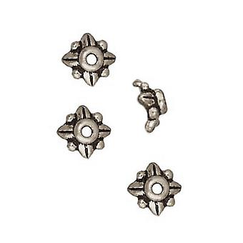 TierraCast Feinversilberte Zinnblattperlenkappen 5,7 mm (x 4)