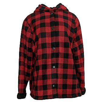 Cuddl Duds Women's Plus Sherpa Snap Front Jacket Red A381706