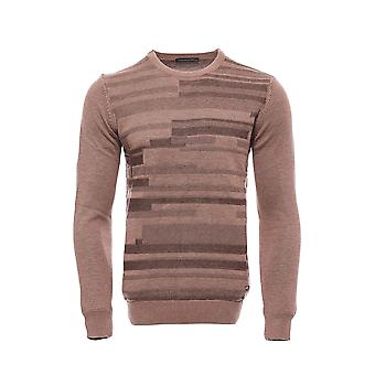 Beige chest patterned circleneck sweater