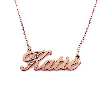 Katie - Customizable name necklace with cubic zircons, rose gold plated