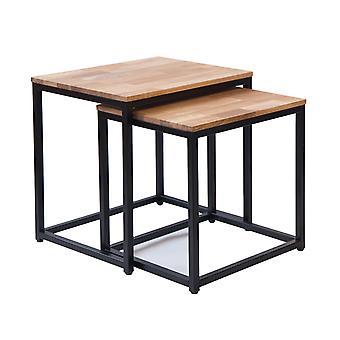 Michie Nest Of Tables Solid Oak Black Metal Frame