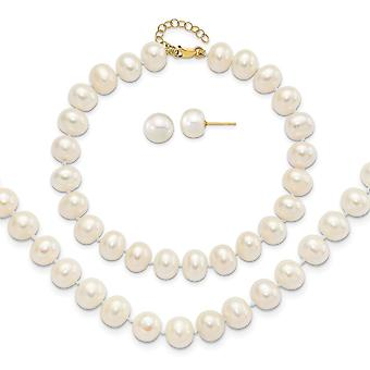 14k Gold 8 9mm Near Rnd Fwc Pearl Earrings With 1inch Ext Bracelet W/2in Necklace Set Jewelry Gifts for Women