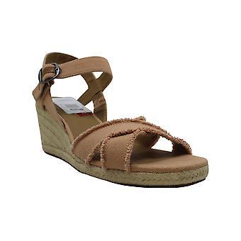 Gelukkig merk Womens Margaline stof Open teen ongedwongen Platform sandalen