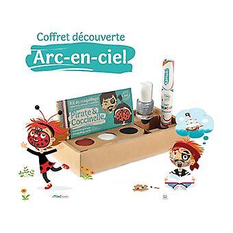 "Rainbow gift set: Kit 3 ""Pirate & Ladybug"", silver varnish and red hair mascara 1 unit"
