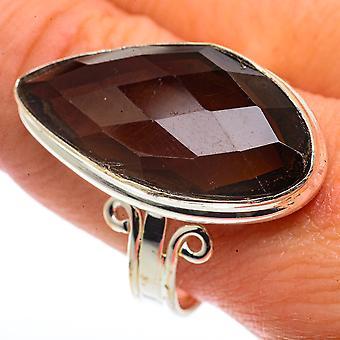Large Smoky Quartz Ring Size 11.5 (925 Sterling Silver)  - Handmade Boho Vintage Jewelry RING66781