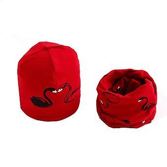 Plush Hat Scarf, Neck Collar Swan Print Set-26