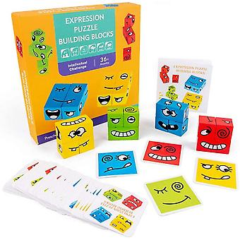 Wooden Expressions Matching Block Puzzles Face-changing Cube Puzzle Toys