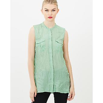 Crinkled Sleeveless Silk Top