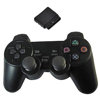 GNG trådløs dual shock-kontroller kompatibel for PS2 Playstation 2 Gamepad Black