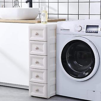 Ganvol Waterproof Plastic slimline bathroom storage unit, Size D31 x W37 x H82 cm, 5 Shelves on Wheels