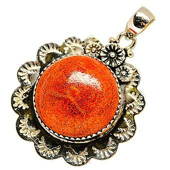 "Sponge Coral Pendant 1 1/2"" (925 Sterling Silver)  - Handmade Boho Vintage Jewelry PD10606"