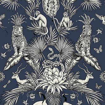 Menagerie Navy Wallpaper