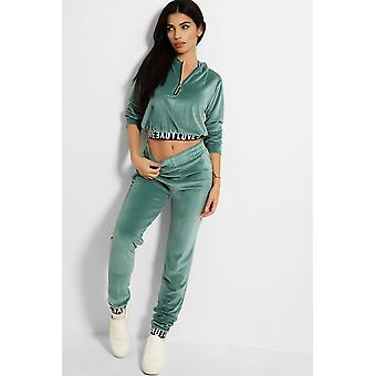 Women Soft Homesuit Nicki Velours Sports Suit Cozy Stretch Zip Print Crop Hoodie