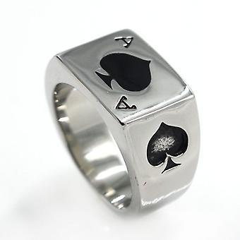 Herren Edelstahl Ring, Poker Spade Ace, schwarz Silber