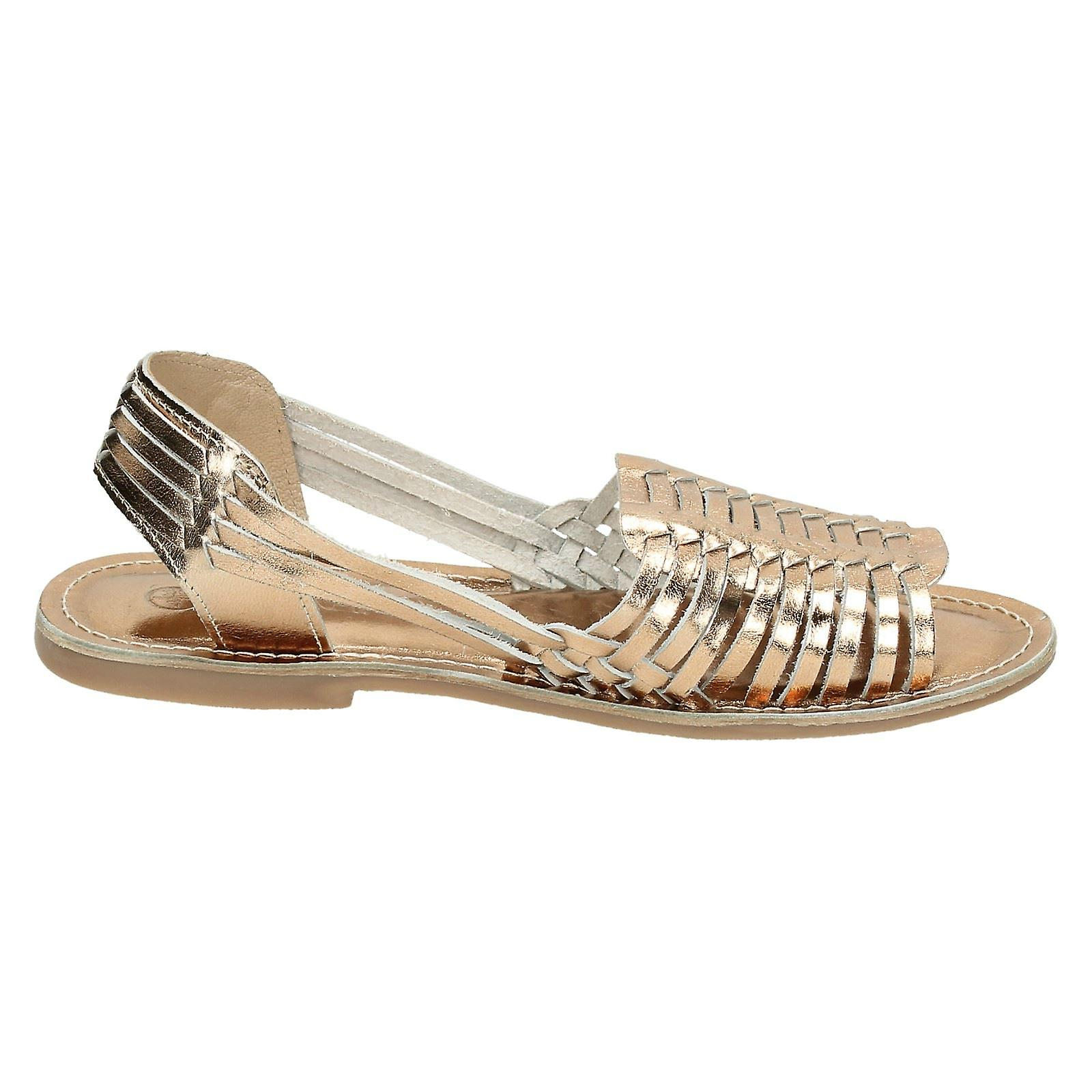Ladies Leather Collection Flat Weaved Slingback Sandal F0917