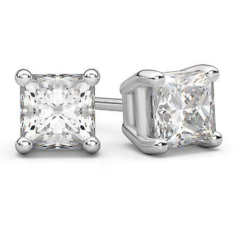 0,75 karat Princess Cut Diamond Stud øredobber i 14K hvitt gull