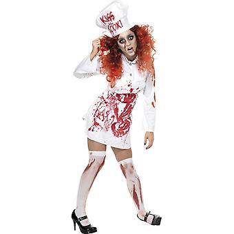 Bloody chef costume Halloween head chef ladies Cook