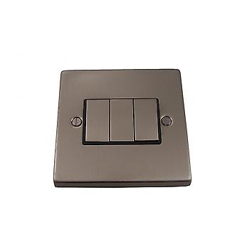 Causeway 3 Gang Ingot Light Switch, Satin Chrome