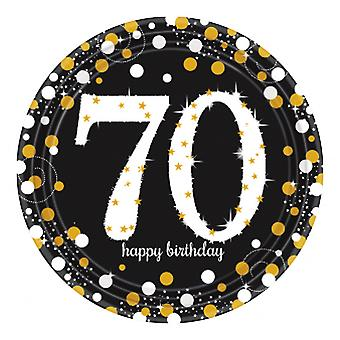 Amscan Sparkling Gold Celebration 70th Birthday Party Plates (Pack Of 8)
