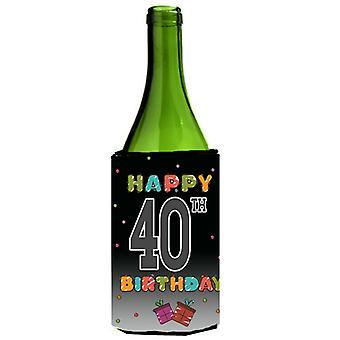 Happy 40th Birthday Wine Bottle Beverage Insulator Hugger