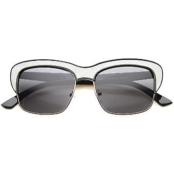 Womens Semi-Rimless Sunglasses With UV400 Protected Composite Lens