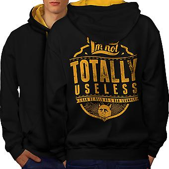 Not Useless Cat Slogan Men Black (Gold Hood)Contrast Hoodie Back | Wellcoda