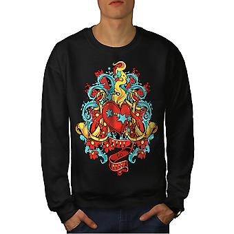 Wolna miłość Walentynki mężczyzn BlackSweatshirt   Wellcoda