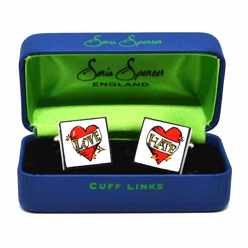 Love Hate Cufflinks by Sonia Spencer, in Presentation Gift Box. Hand painted